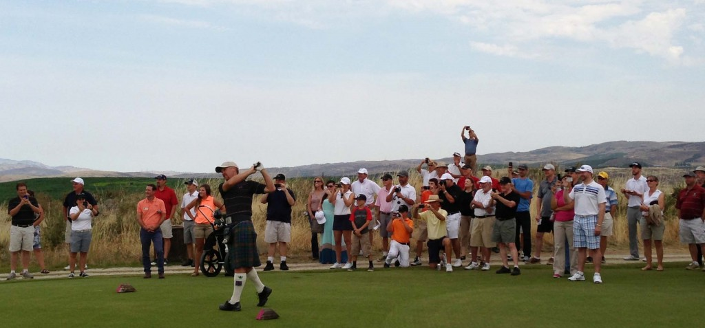 David McLay Kidd takes the ceremonial opening shot at Gamble Sands.