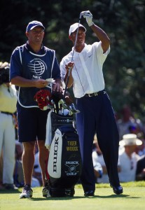Tiger Woods with then-caddie Steve Williams at the 2002 NEC Invitational at Sahalee. Photo by Mark Ursino