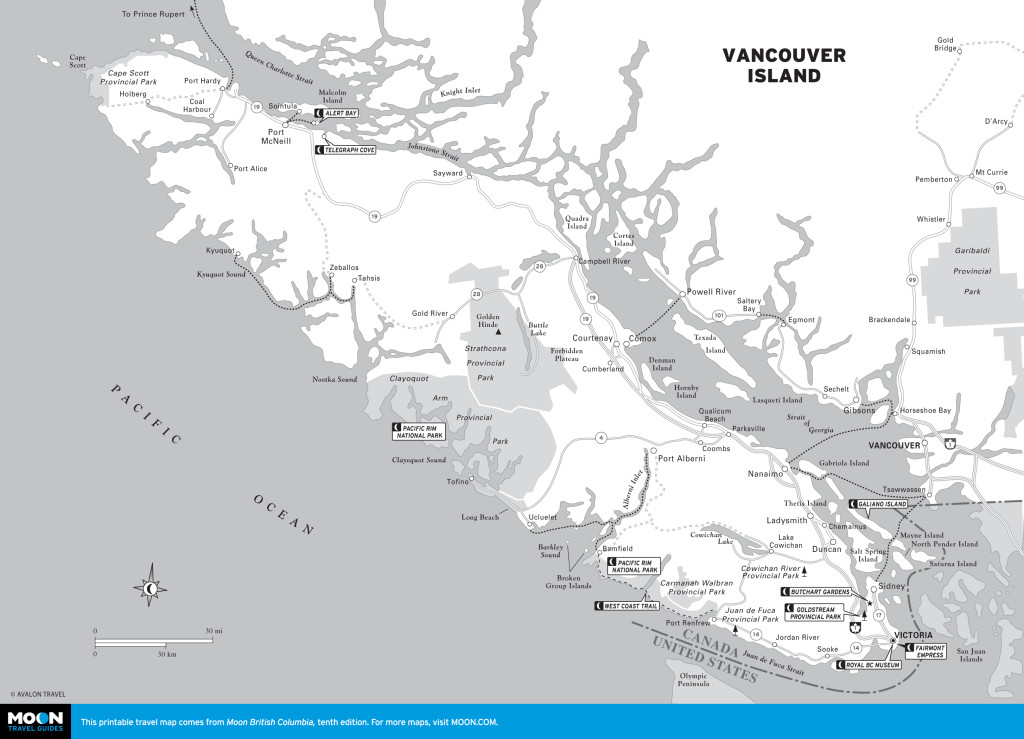 Vancouver Island: There will be golf ... on three courses on the central eastern coast. Map courtesy of Moon.com